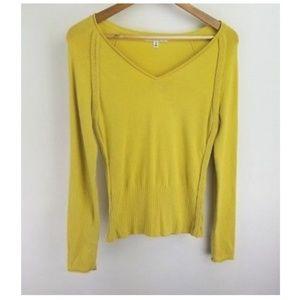 Cabi Sweater Yellow Angora Blend V Neck Knit Small